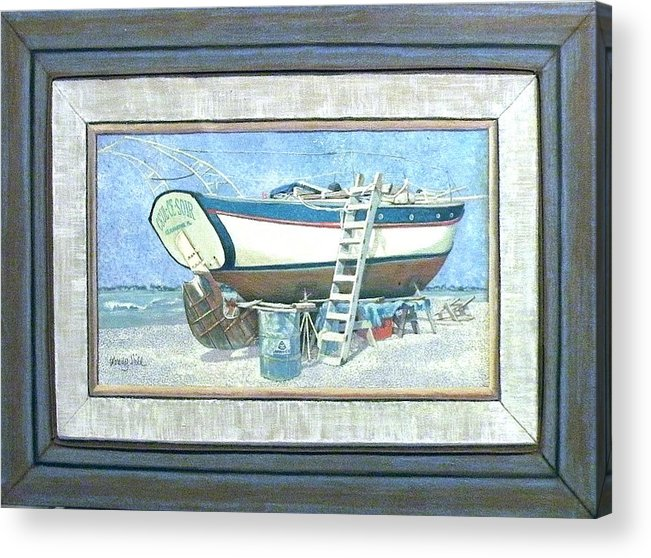 Boat Acrylic Print featuring the painting Ceul Ce Soir In Drydock Florida by Wendy Hill