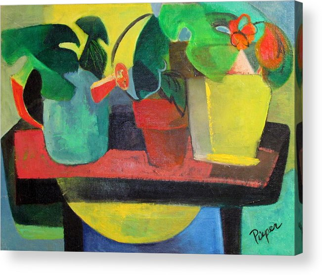 Potting Stand Acrylic Print featuring the painting Cezanne Potting Stand by Betty Pieper