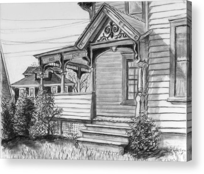 House Acrylic Print featuring the drawing Chenango Street Binghamton Ny by John Clum