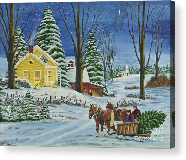 Winter Scene Paintings Acrylic Print featuring the painting Christmas Eve In The Country by Charlotte Blanchard