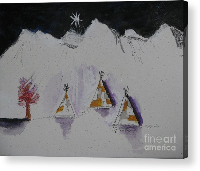 Christmas Star Acrylic Print featuring the mixed media Christmas Teepees by James SheppardIII