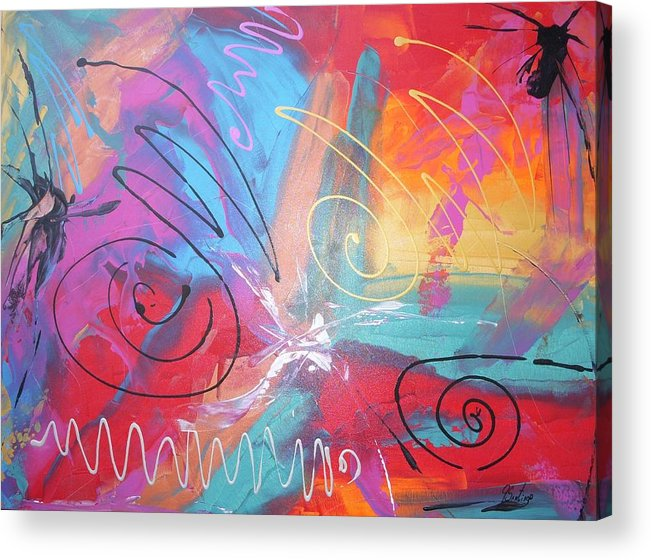 Abstract Acrylic Print featuring the painting Chronicles Of Color by Joey Santiago