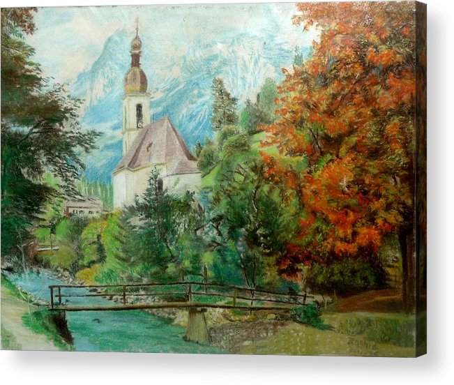 Church Acrylic Print featuring the drawing Church by Rashid Hamza