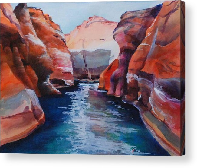 Seacape Acrylic Print featuring the painting Cliff Tapestries by Donna Pierce-Clark