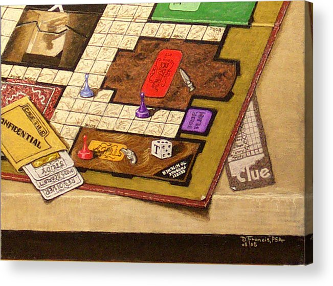 Still Life Acrylic Print featuring the painting Clue The Case Is Solved by David Francis