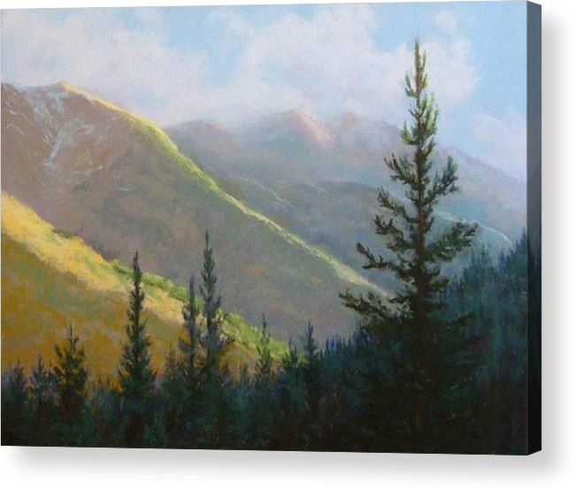Mountains Acrylic Print featuring the pastel Comes The Dawn by Debra Mickelson