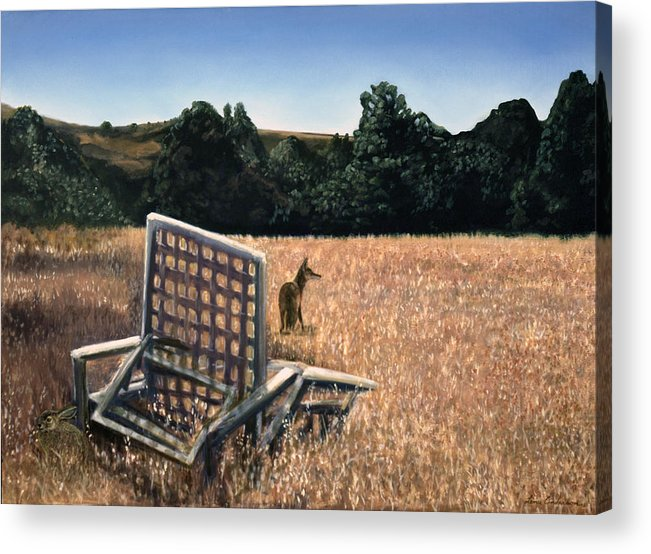 Animals Acrylic Print featuring the painting Coyote And Rabbit by Lance Anderson