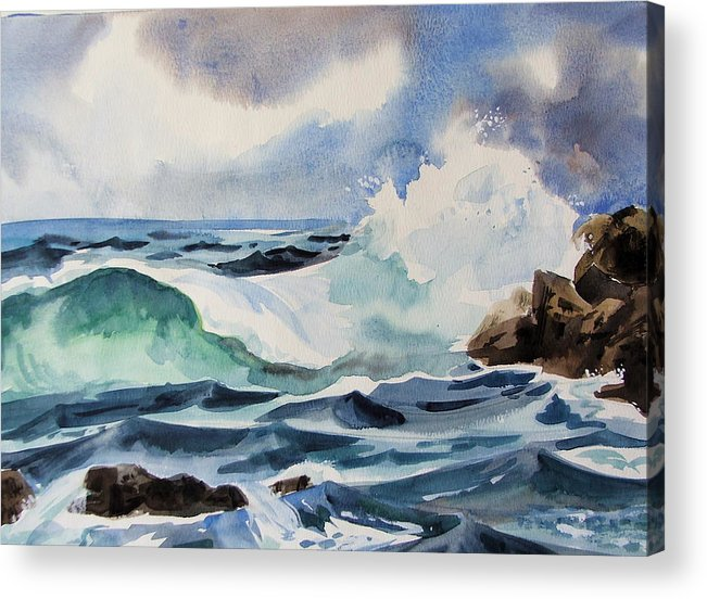 Ocean Acrylic Print featuring the painting Crashing Wave by Dianna Willman