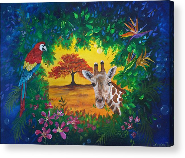 Giraffe Acrylic Print featuring the painting Crossing Into New Realms by Sundara Fawn