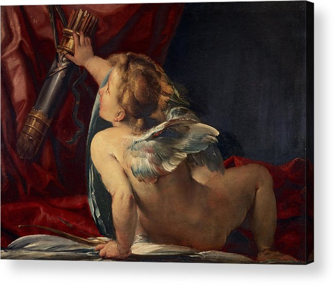 Giulio Acrylic Print featuring the painting Cupid by Giulio Cesare Procaccini