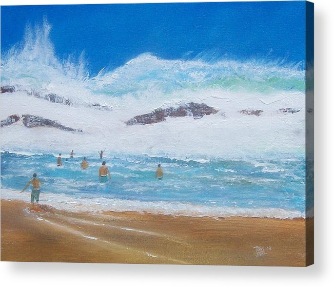 Seascape Acrylic Print featuring the painting Danger No Swimming by Tony Rodriguez