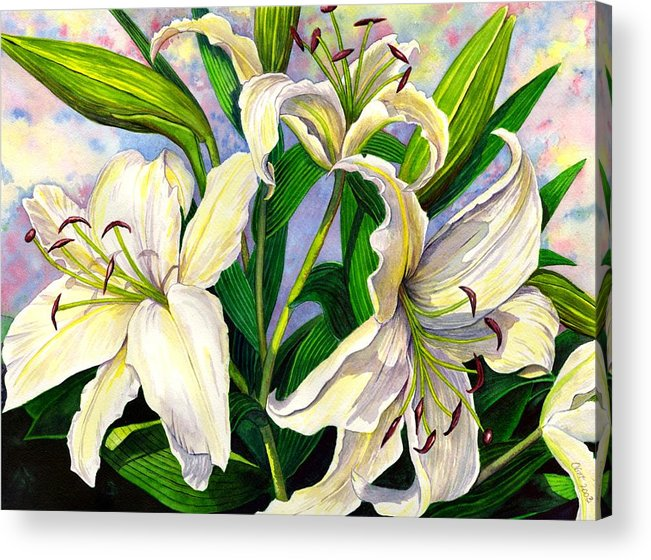 Lily Acrylic Print featuring the painting Daylilies 2 by Catherine G McElroy