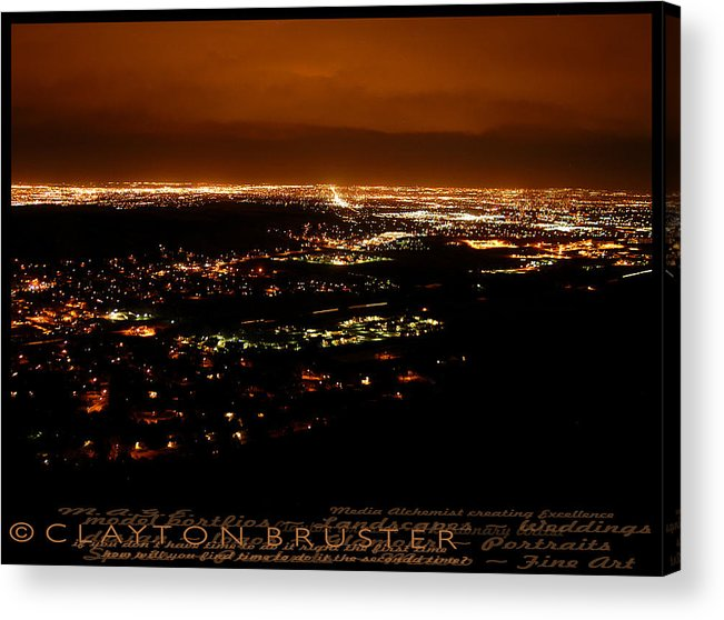 Clay Acrylic Print featuring the photograph Denver Area At Night From Lookout Mountain by Clayton Bruster