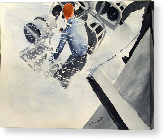 Navy Acrylic Print featuring the painting Depth Charge by Robert Thomaston