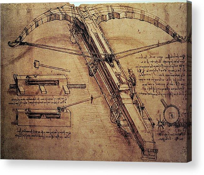 Design Acrylic Print featuring the painting Design For A Giant Crossbow by Leonardo Da Vinci