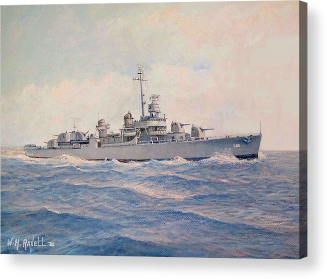 Ships Acrylic Print featuring the painting Destroyer Halsey Powell by William H RaVell III