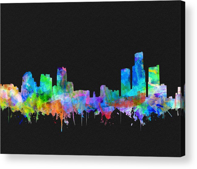 Detroit Acrylic Print featuring the painting Detroit Skyline Watercolor 3 by Bekim M