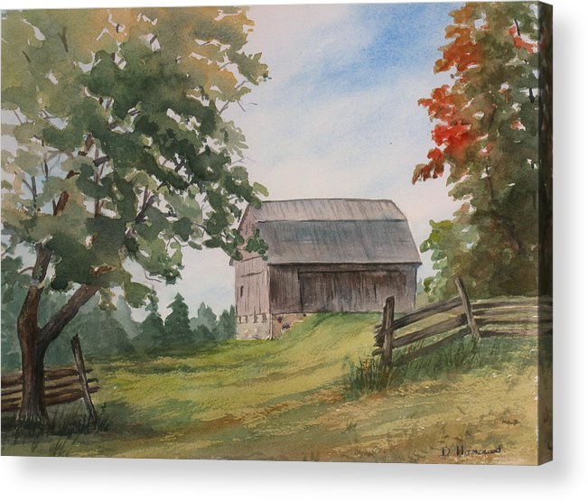 Barn Acrylic Print featuring the painting Disappearing Heritage by Debbie Homewood