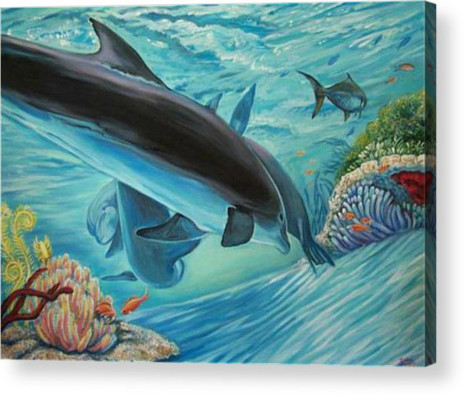 Underwater Scene Acrylic Print featuring the painting Dolphins At Play by Diann Baggett