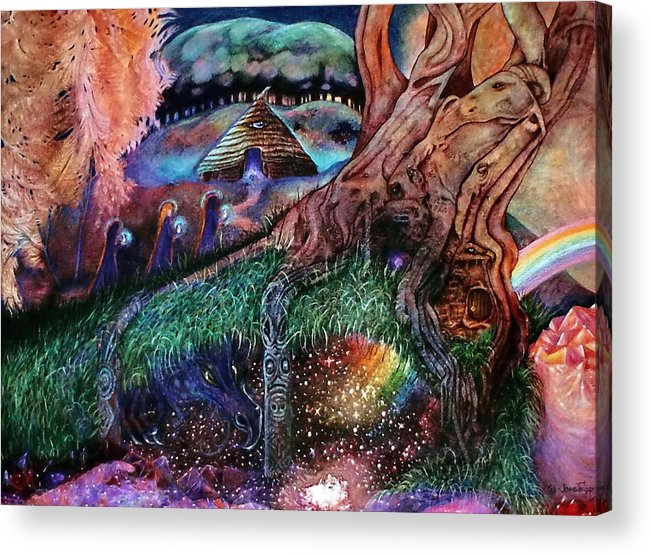 Acrylic Print featuring the painting Dragon Under The Hill by Jane Tripp