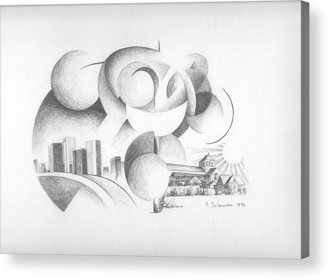 Abstract Acrylic Print featuring the drawing Dualite by Muriel Dolemieux