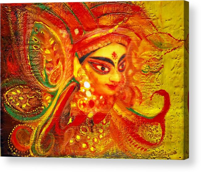Abstract Acrylic Print featuring the painting Durga by Joya Paul