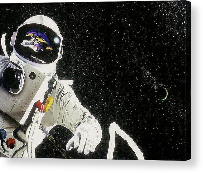 Space Acrylic Print featuring the mixed media Earh Do You Copy by Brett Cremeens