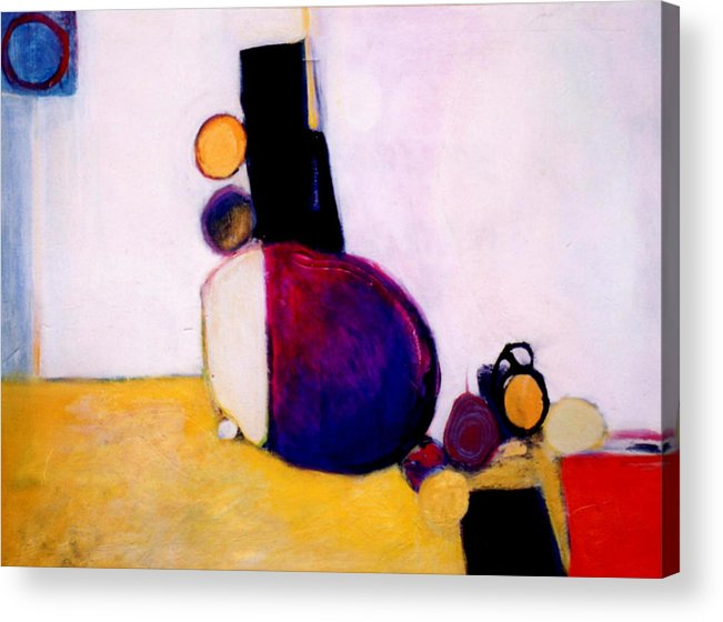 Abstract Acrylic Print featuring the painting Early Blob Having A Ball by Marlene Burns