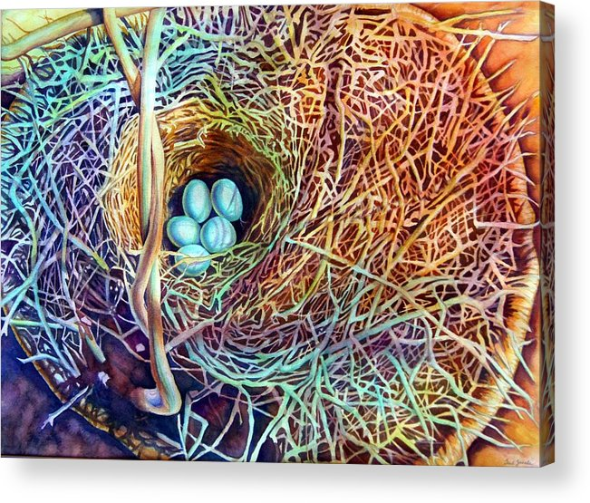 Still Life..birdnest/basket Acrylic Print featuring the painting Eggs In A Basket by Gail Zavala
