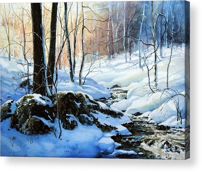 Winter Sunset Art Prints Acrylic Print featuring the painting Evening Shadows by Hanne Lore Koehler