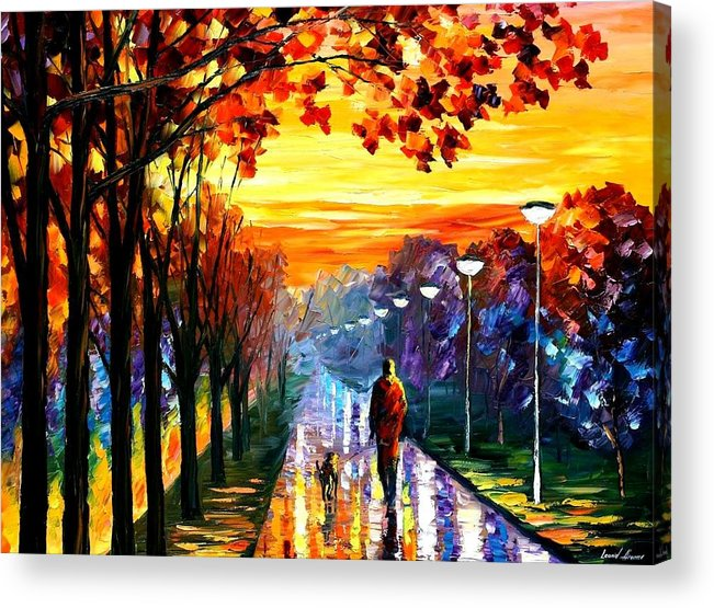 Afremov Acrylic Print featuring the painting Evening Stroll by Leonid Afremov