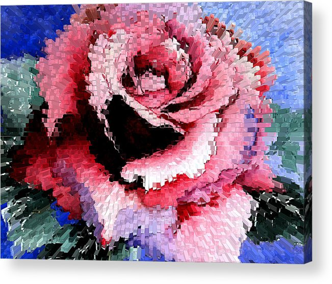 Rose Acrylic Print featuring the painting Extruded Rose by Mary Gaines