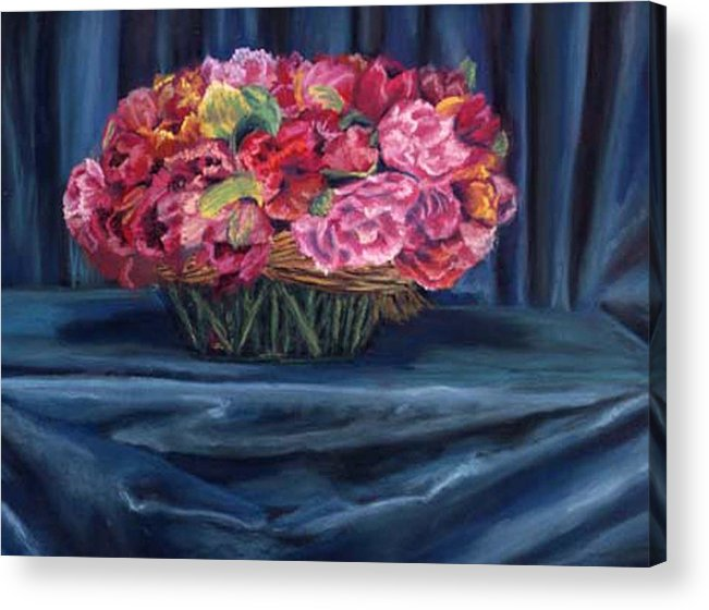 Flowers Acrylic Print featuring the painting Fabric And Flowers by Sharon E Allen