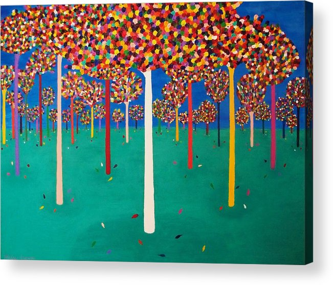 Trees Acrylic Print featuring the painting Fall by Ricky Gagnon