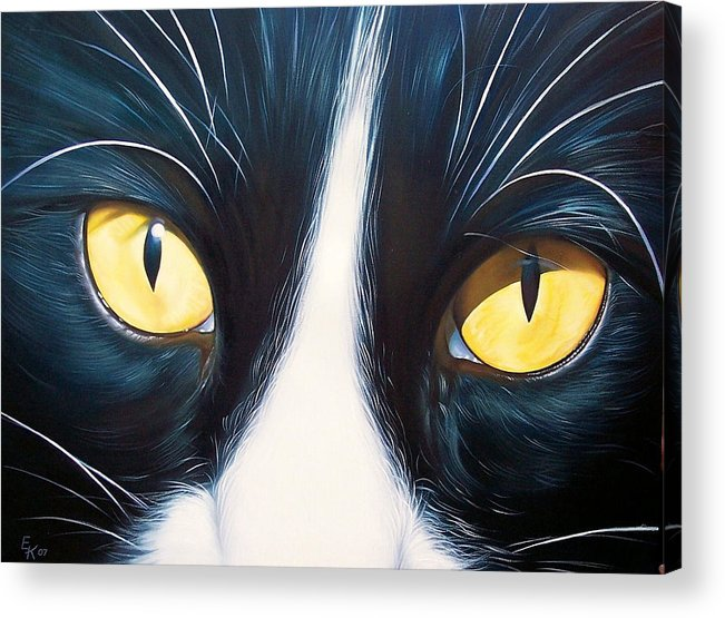 Cat Acrylic Print featuring the painting Feline Face 2 by Elena Kolotusha