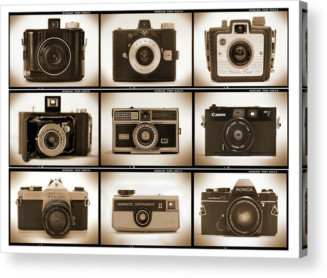 Vintage Cameras Acrylic Print featuring the photograph Film Camera Proofs 1 by Mike McGlothlen