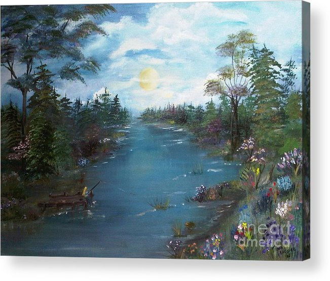 Haeger Art Sun Clouds Flowers Fishing Dock River Trees Water Nature Fishing Woman Painting For Sale Acrylic Print featuring the painting Fishing Dock by Tina Haeger