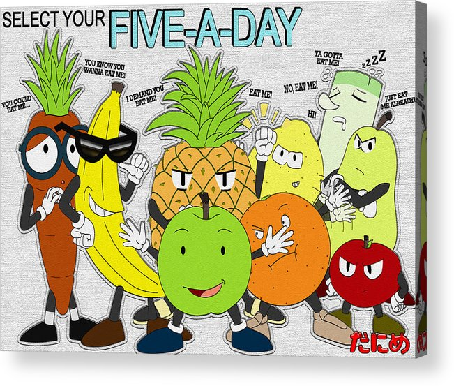 Five Acrylic Print featuring the digital art Five-a-day by Daniel Poole