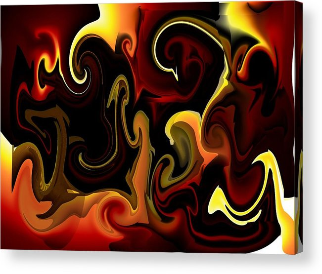 Flames Acrylic Print featuring the digital art Flames And Faces by Katina Cote