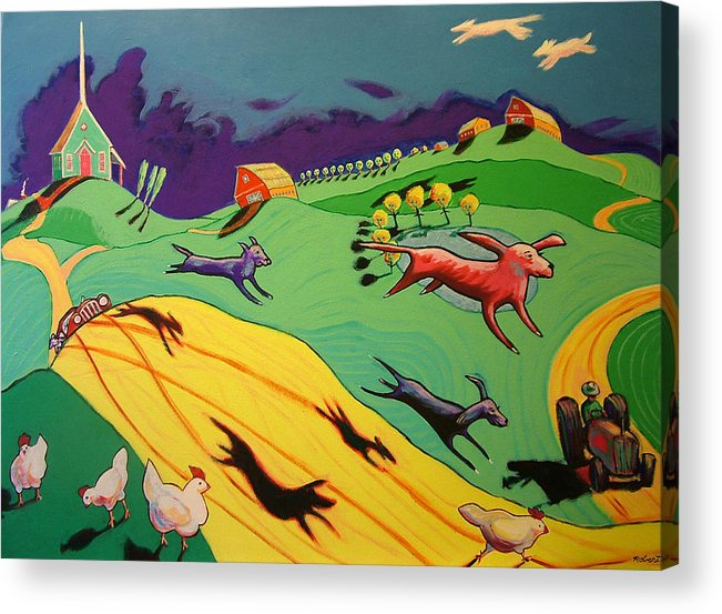 Story Landscape Dogs Acrylic Print featuring the painting Flying Dog Farm by Robert Tarr