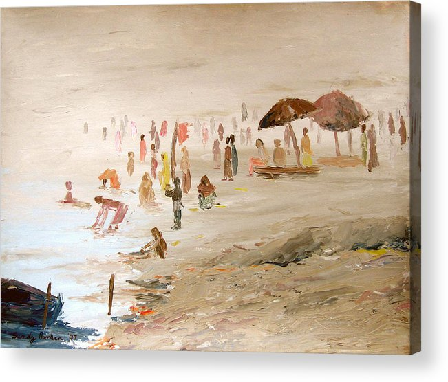 Varanasi Acrylic Print featuring the painting Foggy Morning At The Ghats by Art Nomad Sandra Hansen