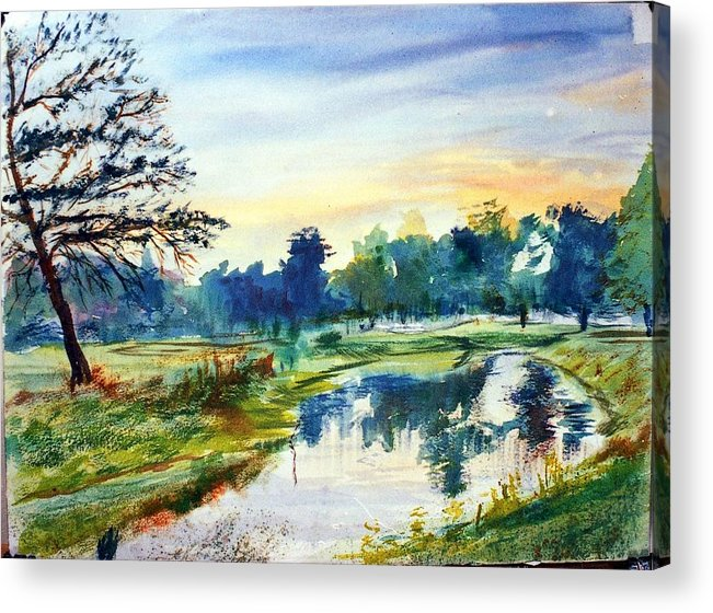 Watercolor Acrylic Print featuring the painting Forest Park At Dawn by Horacio Prada