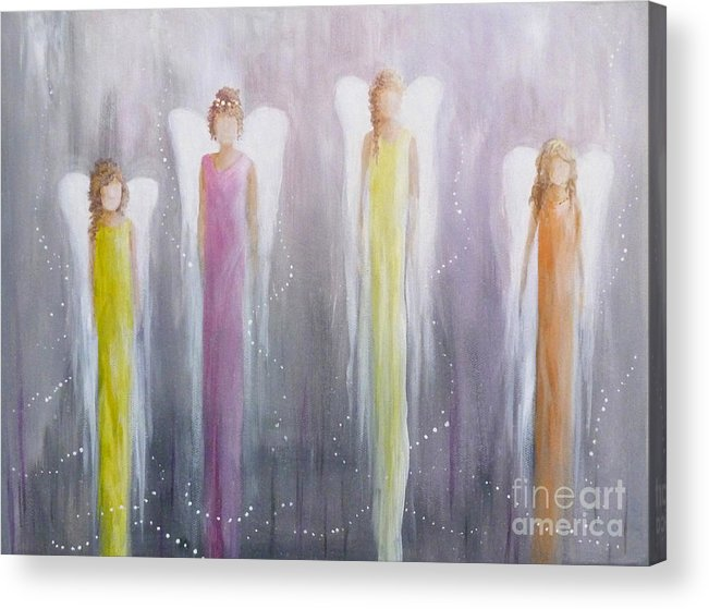 Angels Acrylic Print featuring the painting Four Angels by Julia Underwood