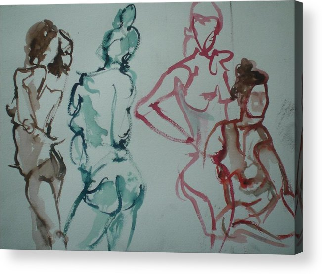 Nude Figures Acrylic Print featuring the painting Four Nude Figures by Aleksandra Buha