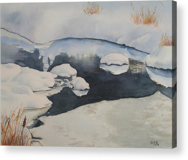 Winter Acrylic Print featuring the painting Freeze Up by Debbie Homewood