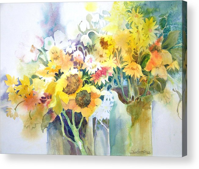 Contemporary;watercolor;sunflowers;daisies;floral; Acrylic Print featuring the painting Fresh-picked by Lois Mountz