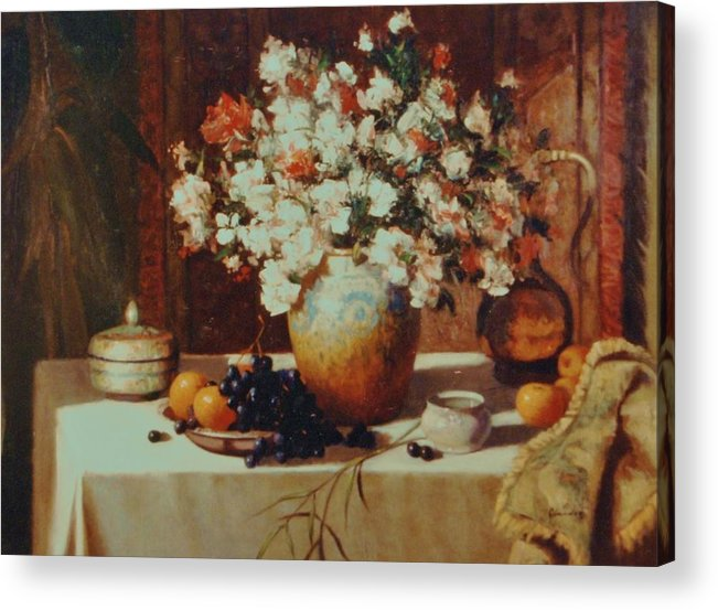 Still Life Impression Acrylic Print featuring the painting Fruit Flowers Vases With Carpet Background by David Olander