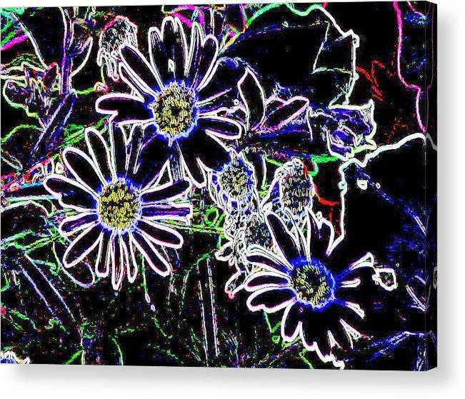 Flowers Acrylic Print featuring the digital art Funky Flowers by Anita Burgermeister