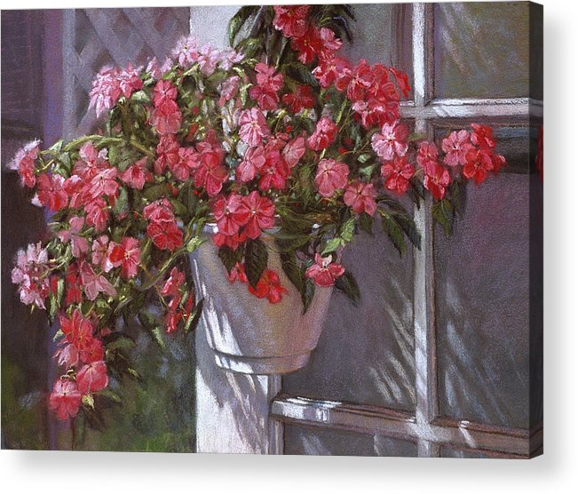 Garden Painting Acrylic Print featuring the painting Garden House by L Diane Johnson