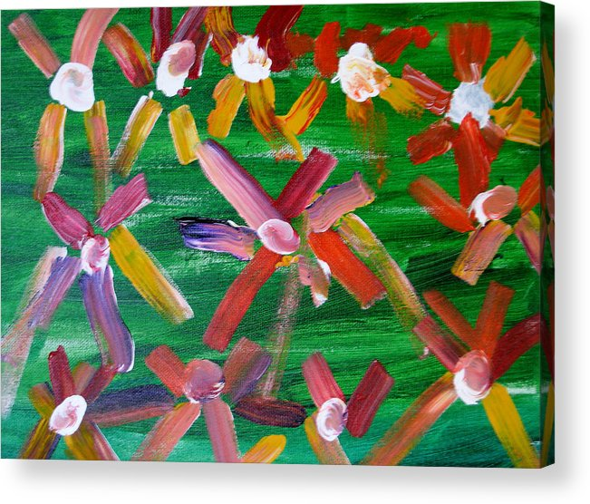 Flowers Acrylic Print featuring the painting Gary's Flowers by Gary Giagrande